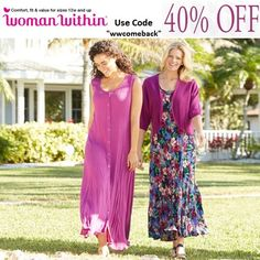 "Woman Within Promo Code: ""WWCOMEBACK"" Get 40% Off on Your Order by Using Woman Within Promo code"