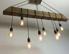 Reclaimed Barn Timber Beam Light di 7MWoodworking su Etsy