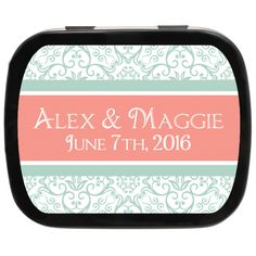 Damask Stripe Personalized Wedding Mint Tins, a great wedding favor for a timeless theme, damask wedding ideas #favorideas