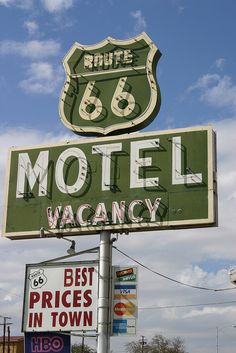 The neon sign of the Route 66 Motel at Barstow, California