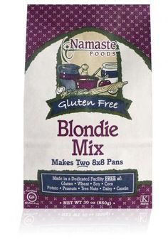 Namaste Foods Blondie Mix  This product contains no wheat, gluten, soy, corn, potato, dairy, casein, peanuts or tree nuts. Non-GMO, all natural, no preservatives.