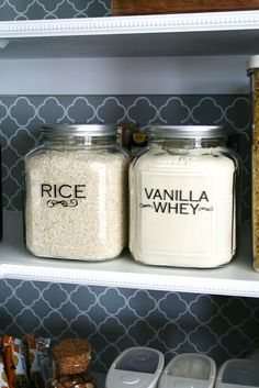 Pantry Makeover Wide mouth glass jars with silver screw on lids Walmart - $5.00 each. (I have small scoops inside the rice and protein powder that I keep in each container, for easy use!) - See more at: http://www.thehouseofsmiths.com/2010/07/pantry-remix.html#sthash.sL72yxw1.dpuf