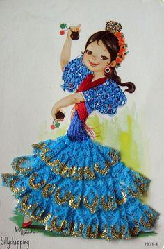 "Spanish Flamenco Card*1500 free paper dolls at Arielle Gabriel""s The International Paper Doll Society and free Chinese Japanese paper dolls at The China Adventures of Arielle Gabriel *"