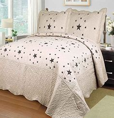 Mk Collection Beige/taupe 3 Pc Bedspread Coverlet with Embroidery Black Western Lone Star Quilt Set (King)