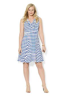 Lauren Ralph Lauren Plus Size Ruffled V-Neck Cotton Dress