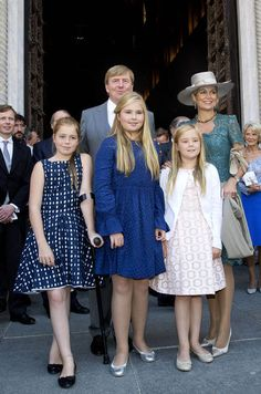 Queen Maxima and her daughters in the baptism of Prince Carlos