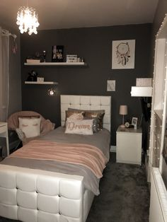 Pink White Grey Rose Gold Themed Bedroom Eth Room Ideas In 2019 Room Decor Bedroom Rose Gold, Grey And Gold Bedroom, Rose Gold Rooms, Bedroom Decor For Couples, Room Ideas Bedroom, Small Room Bedroom, Bedroom Themes, Girls Bedroom, Bedrooms