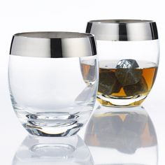 Whether you take yours neat or on the rocks, whiskey just tastes better when it's served in a silver-rimmed glass. The mid-century inspired pieces are perfect for entertaining at home or at the office.