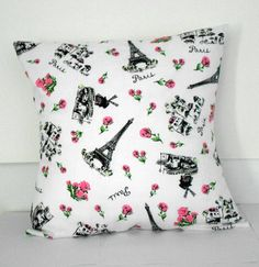 Pink Rose Pillow Cover Paris Home Decor 16 X 16 by SarahLyallHome on Etsy