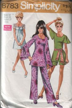 Simplicity 8783 vintage 70s mini dress, tunic, shorts and pants pattern UNCUT, size 14, bust 36  FREE SHIPPING to canada and usa. $8.00, via Etsy.
