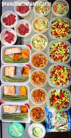 Meal Prep ideas for the week! Eat healthy all week and save time and money by prepping ahead of time.  Full recipes and nutrition info are included! - Chicken, Broccoli and Wild Rice Soup - Turkey Taco Salad - Pesto salmon with asparagus and sweet potatoes - Peanut butter and jelly overnight oats #MealPrepMonday