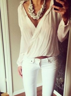 This blouse ..statement necklace .. white jeans..perfect