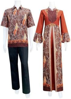 Model Baju Gamis Batik Kombinasi Satin Model Gamis Batik Dress