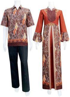 Model baju gamis pesta kombinasi batik Batik Couple f0160bc645