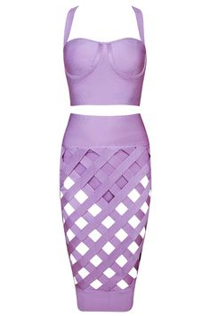 Honey Couture - Purple Cage Crop Top & Bandage Skirt Set