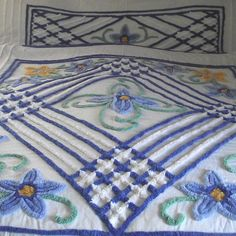 White with Blue Florals Full Sz. Chenille Bedspread from bonnieboswellantiques on Ruby Lane