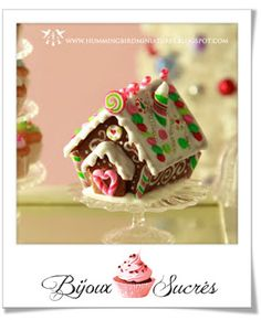 Polymer Christmas Mini Gingerbread house picture tutorial with patterns.
