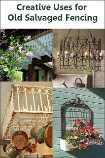 Creative uses for old salvaged fencing - awesome ideas! We have all sorts of old iron elements, gates and fencing at Restoration Resources in Boston for you to use for any one of these great repurposing ideas!
