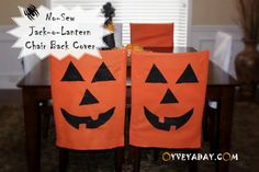 DIY Halloween Decorations: No-Sew Jack-o-Lantern Halloween Chair Covers from Oyveyaday.com