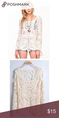 56cdc80e4f Crochet Lace Top Cream colored lace top