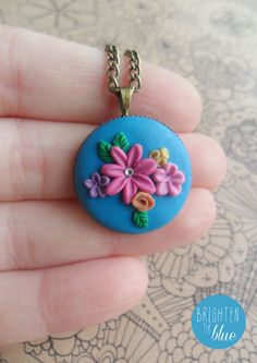 Beautiful floral polymer clay handmade necklace, available on Etsy! https://www.etsy.com/uk/listing/163010615/colourful-and-bright-floral-polymer-clay