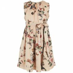 Rachel Riley Champagne Butterfly Print Dress