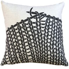Knitting Cushion Cover - Black on Natural - hardtofind.