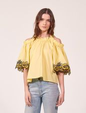Bare Shoulder Top With Embroidery - Tops & Shirts - Sandro-paris.com