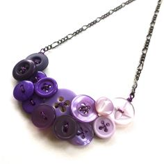 Ombre Purple Vintage Button Fashion Necklace - Shades of Purple by buttonsoupjewelry on Etsy