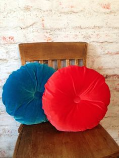 Custom Round Velvet Pillows Pair Color Choice Velvet Cushions with Covered Button Accents - Custom Order