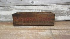 Large Antique Wood Box Wooden Cheese Box Wood Crate Rustic Dostressed Display Meadow Gold 5lbs