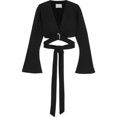 BeaufilleTarvos Cropped Modal-neoprene Wrap Top (€245) ❤ liked on Polyvore featuring tops, black, drape top, wrap tie top, tie top, drapey top and bell sleeve tops