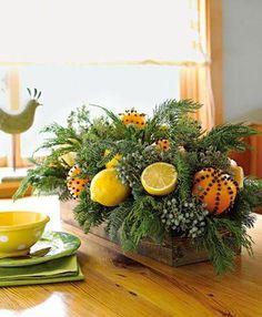Centre de table de Noël à faire soi-même avec des agrumes