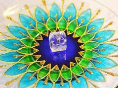 Incensário Vidro Redond Mandala Margarida Azul Verde Dourado