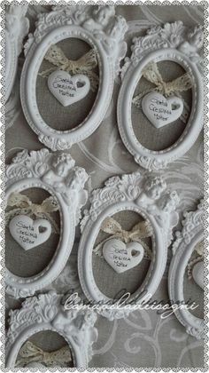 Bomboniere cresima Diy Clay, Clay Crafts, Diy And Crafts, Shabby Chic Frames, Shabby Chic Decor, Homemade Gifts, Diy Gifts, Crafts For Seniors, Heart Crafts