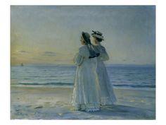 Michael Peter Ancher - Zwei Frauen am Strand von Skagen Skagen, Am Meer, Beach Scenes, Claude Monet, Beach Art, Banksy, Figurative Art, Art Reproductions, Giclee Print