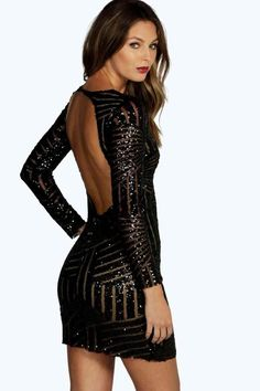 boohoo Boutique Beth Sequin Open Back Bodycon Dress