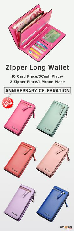 US$15.27+Free shipping. Zipper Long Wallets,  Candy Color Purse, PU Leather, Color: Black, Blue, Red, Rose Red, Purple, Pink, Light Pink, Green. Shop now~