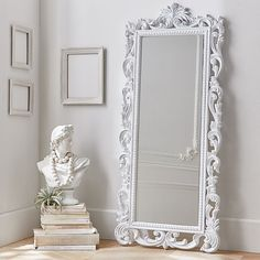 Large Full Length Silver Rococo Cheval Mirror - Mercure | Cheval ...