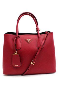 Prada - Saffiano Double Bag Tote I in Red