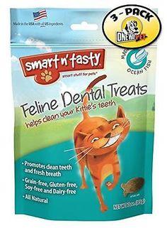 Smart n' Tasty Cat Ocean Fish Dental Grain Free Treats (Pack of 3), New, Free Sh