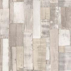 Papel pintado imitaci n ladrillo blanco cuarteado en negro - Papel pintado imitacion madera ...