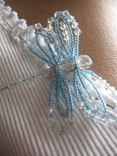 Beaded Dragonfly Brooch in Blue Clear Summer Gift by ninellfux