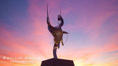 Flama de la Amistad, a statue by Leonardo Nierman. 20 feet tall.