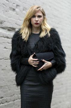 Elegant croco dress with black fur coat