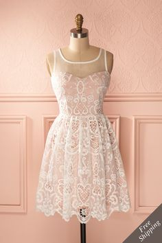 A-Line Square Knee-Length Lace Dress, Pearl Pink Lace Hollow Sleeveless Homecoming Dress Grad Dresses Short, Lace Homecoming Dresses, Pretty Dresses, Beautiful Dresses, Online Fashion Boutique, Types Of Dresses, Pink Lace, White Lace, Mode Style