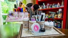 DIY Can Makeup Organizer - recycle your tin cans & create a beautiful spot for your makeup! Craft by @tmemme28!