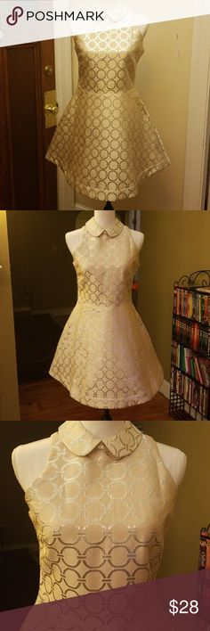 Sister Jane Circle dress with POCKETS! Gorgeous cream/champagne colored dress with silver shimmering circles. WITH TAGS. Size L. Will NOT fit busty girls. I'm a D and it wouldn't sip. Sister Jane Dresses