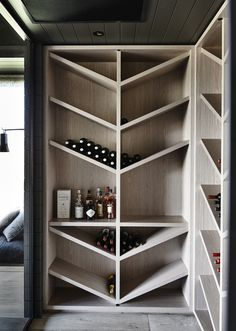 Contemporary wine cellar coolness and cheaper than a million racks too