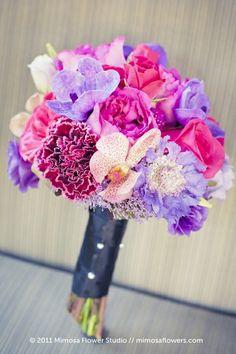 pink amaranth fuchsia lilac wedding bouquet flowers
